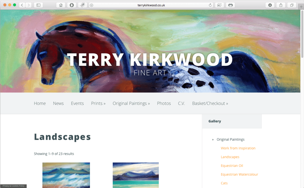 Terry Kirkwood Fine Art – site redesign